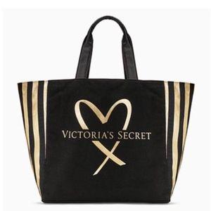 Victoria's Secret Black and Gold Cotton Tote Bag